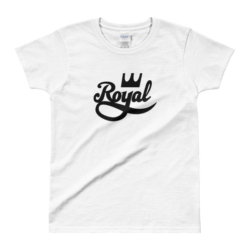 Royal T Shirt White 100% Cotton Half Sleeve Royal T Shirt for Women - Dafakar
