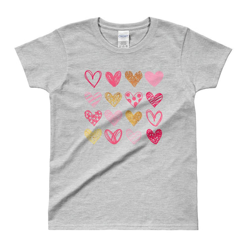 Cute Hearts T Shirt Grey Cute Shapes of Hearts T Shirt for Women - Dafakar