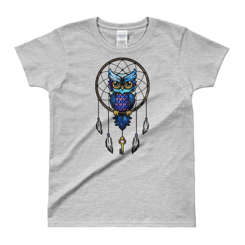 Dream Catcher T Shirt Grey Dream Catcher Owl T Shirts for Women - Dafakar