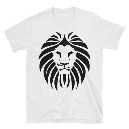 Lion Short Sleeve Round Neck White 100% Cotton T-Shirt for Men - Dafakar