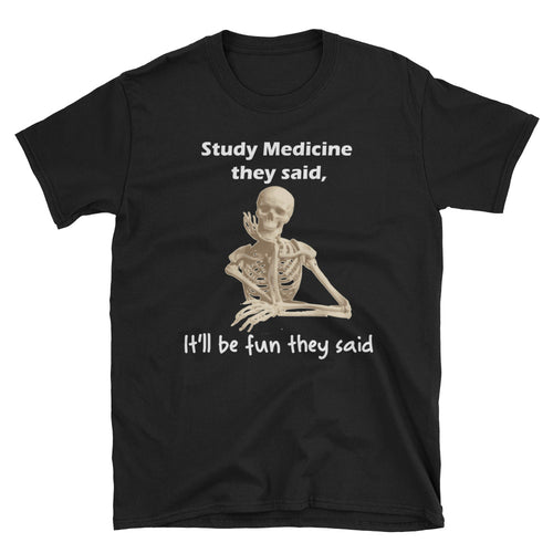 Study Medicine T shirt Funny Lady Doctor T shirt Black Short-Sleeve Cotton T shirt for medical students