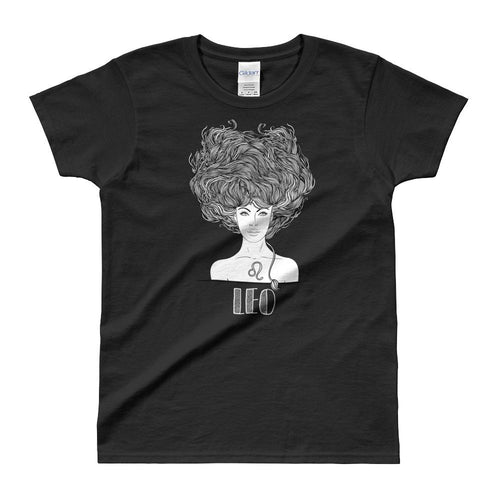 Leo T Shirt Zodiac Short Sleeve Round Neck Black Cotton T-Shirt for Women - Dafakar