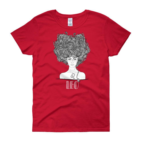 Leo T Shirt Zodiac Round Neck Red Cotton T-Shirt for Women - Dafakar