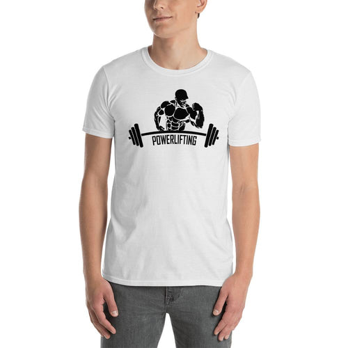 Power Lifting T Shirt White Gym T Shirt Fitness T Shirt for Men - Dafakar