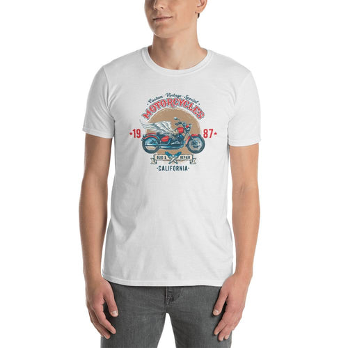 Custom Retro Vintage Motorcycle T Shirt White Authentic Est 1987 Bike T Shirt for Men - Dafakar