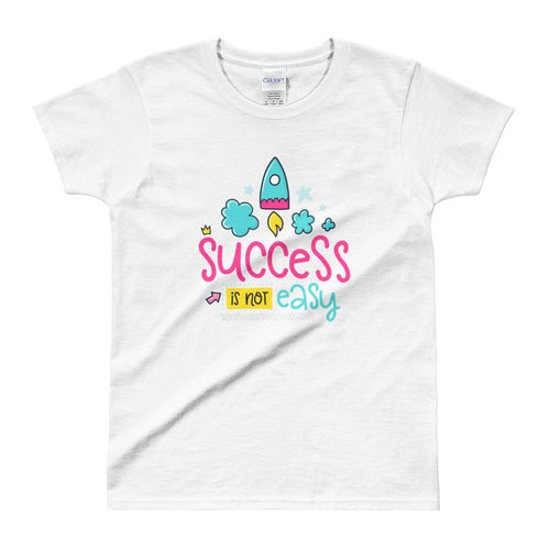 Cute Success Print Short Sleeve Round Neck White 100% Cotton T-Shirt for Women - Dafakar