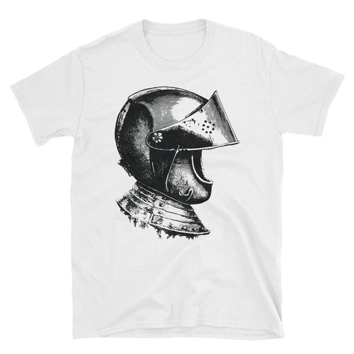 A Knight Helmet T Shirt Short-Sleeve White Unisex Knight Helmet T-Shirt - Dafakar