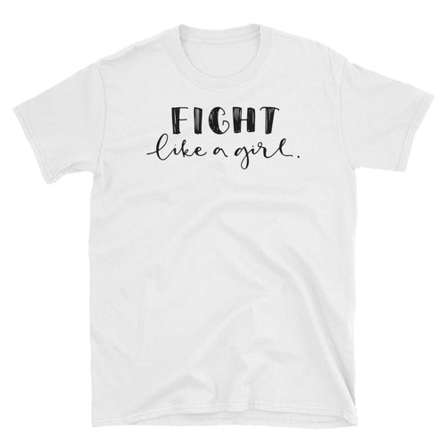 Fight Like a Girl T Shirt White Color Girl Empowerment T Shirt Short-Sleeve Strong Girl T-Shirt - Dafakar