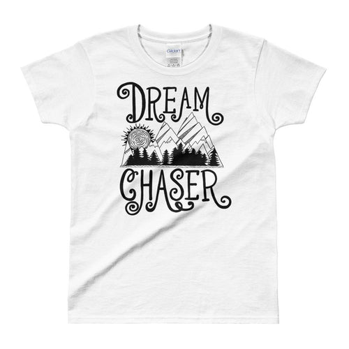 Dream Chaser T Shirt White 100% Cotton T Shirt for Women - Dafakar