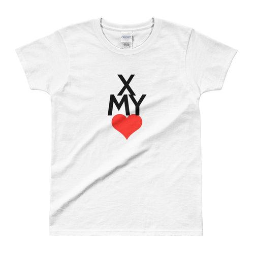 Cross My Heart T Shirt White Valentines Day T Shirt for Women - Dafakar