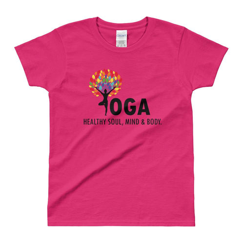 Yoga T Shirt Pink Shakti Yoga T Shirt Healthy Soul, Mind & Body T Shirt for Women - Dafakar