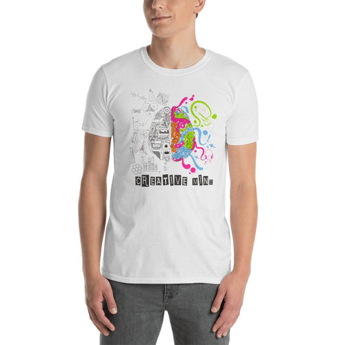Creative Mind T Shirt White Nerd Brain T Shirt for Men - Dafakar