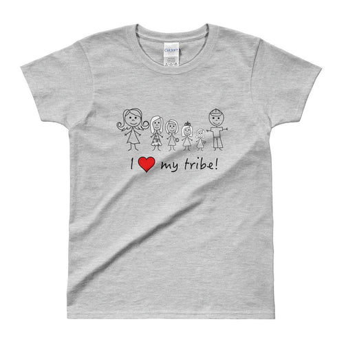 I Love My Family T Shirt Love My Tribe Grey T Shirt For Women - Dafakar