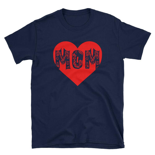 Mom Heart T Shirt Navy Unisex Mothers Day T Shirt Gift for Mom Awesome Mom T Shirt - Dafakar