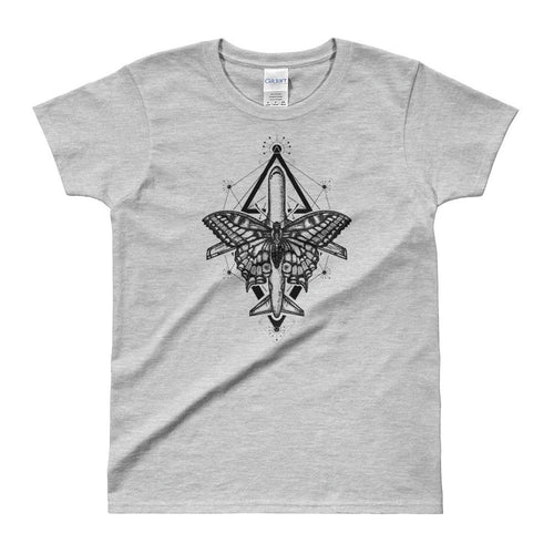 Magic Moth Butterfly And Plane Tattoo Design Grey T Shirt for women - Dafakar