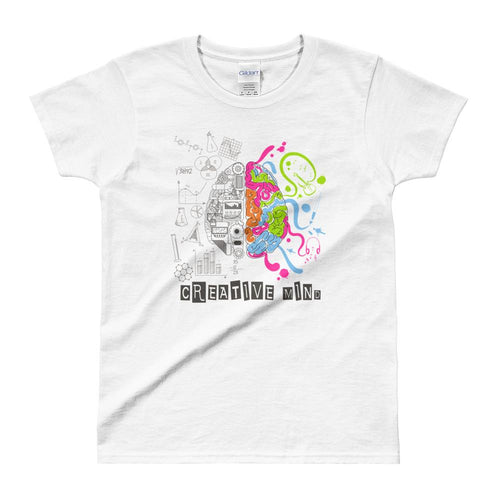 Creative Mind T Shirt White Nerd Brain T Shirt for Women - Dafakar
