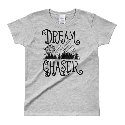 Dream Chaser T Shirt Grey 100% Cotton T Shirt for Women - Dafakar