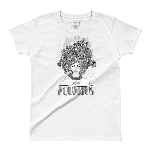 Aquarius T Shirt Zodiac Short Sleeve Round Neck White Cotton T-Shirt for Women - Dafakar