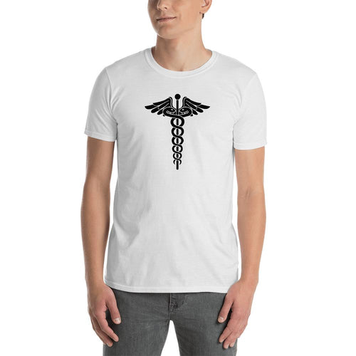 Caduceus T Shirt White Symbol of Medicine Caduceus T Shirt for Men - Dafakar