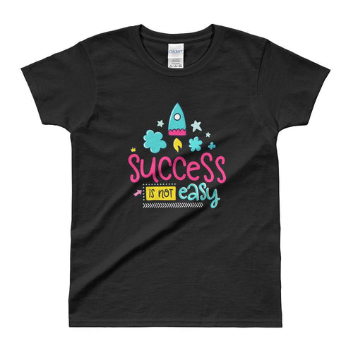 Cute Success Print Short Sleeve Round Neck Black 100% Cotton T-Shirt for Women - Dafakar