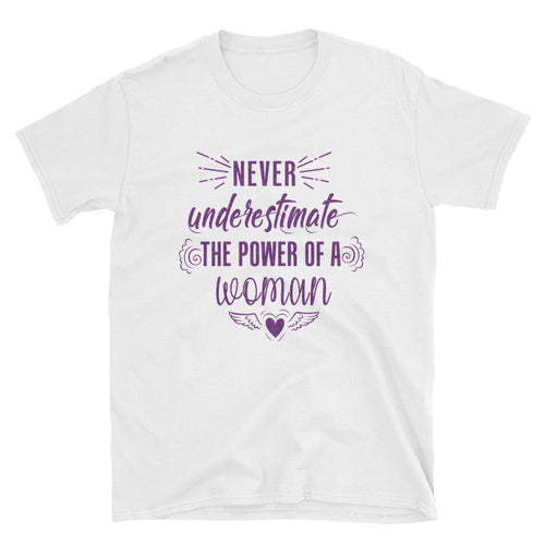 Never Underestimate The Power of a Woman T Shirt White Purple Glitter Woman Power Tee - Dafakar