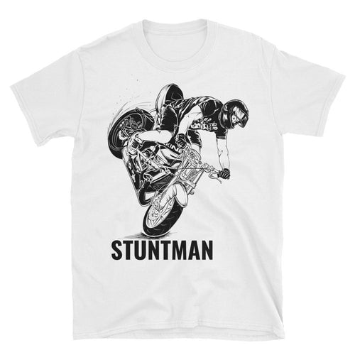 Stunt Biker T Shirt Stunt Man T Shirt White Biker T Shirt For Men - Dafakar