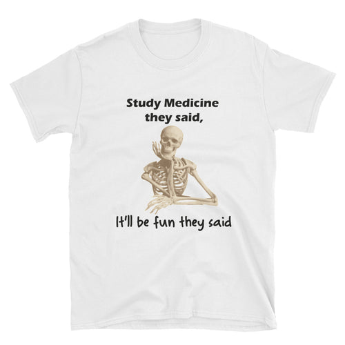 Study Medicine T shirt Funny Lady Doctor T shirt White Short-Sleeve Cotton T shirt for medical students