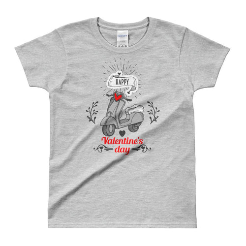 Cute Valentine's Day Short Sleeve Round Neck Grey 100% Cotton T-Shirt for Women - Dafakar