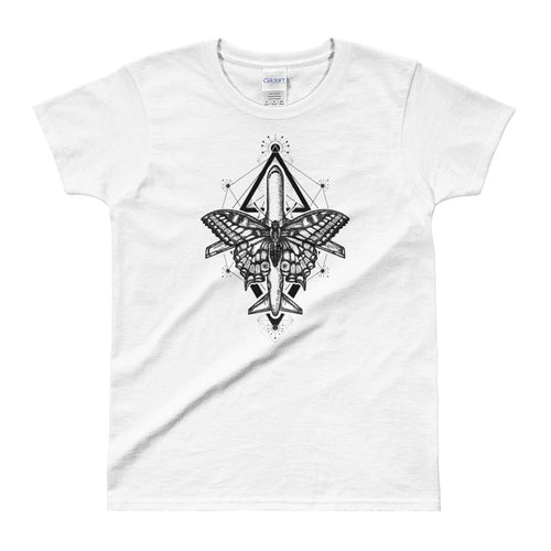 Magic Moth Butterfly And Plane Tattoo Design White T Shirt for women - Dafakar
