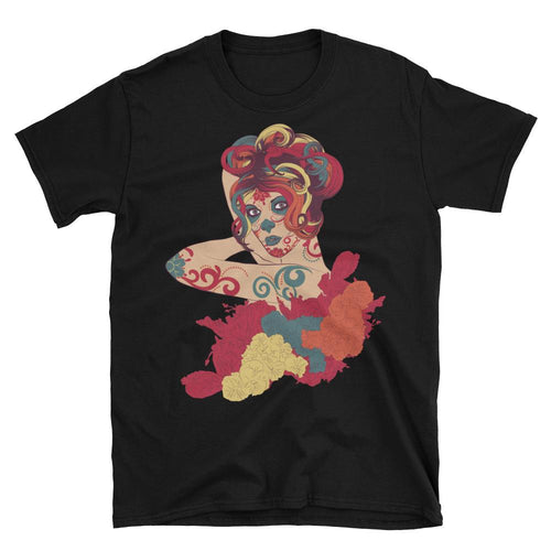 Day of the Dead Short Sleeve Round Neck Black Cotton T Shirt for Men - Dafakar