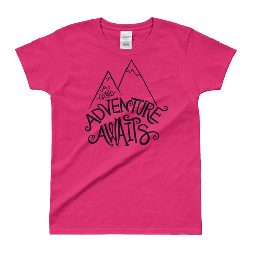 Adventure Awaits T Shirt Pink Cotton Adventure Time T Shirt for Women - Dafakar