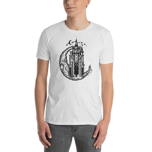 Medieval Castle On Moon Tattoo Design T Shirt for Men - Dafakar