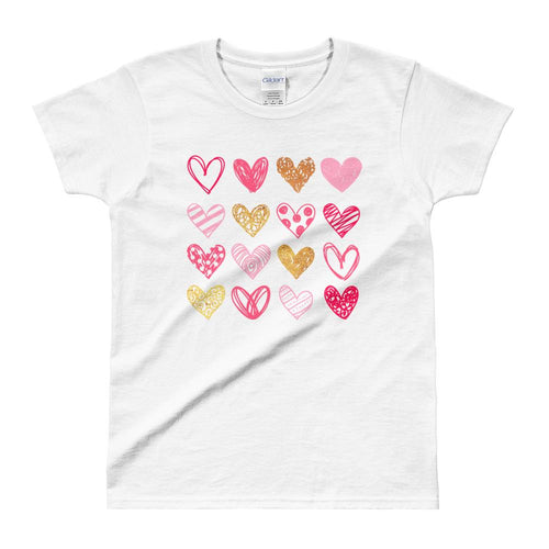 Cute Hearts T Shirt White Cute Shapes of Hearts T Shirt for Women - Dafakar