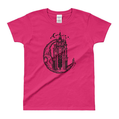 Medieval Castle On Moon Tattoo Design T Shirt Pink for Women - Dafakar