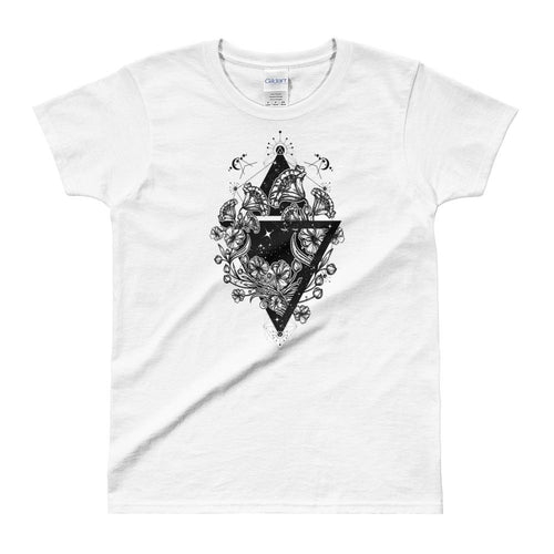 Flowers Art Nouveau Triangle Tattoo Design T Shirt White for Women - Dafakar
