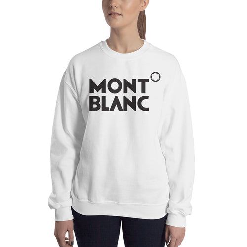Branded Sweatshirt Mont Blanc brand Sweatshirt full-sleeve crew neck White Mont Blanc sweatshirt for women