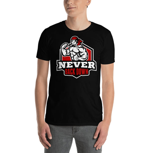 Never Back Down T shirt Gym T shirt Body Building T shirt Black Short-Sleeve Cotton T shirt for men