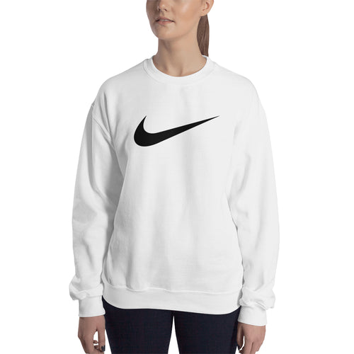 Nike Logo Sweatshirt Nike brand Sweatshirt full-sleeve crew neck White Branded sweatshirt for women