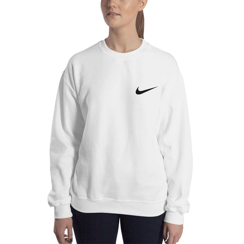 Branded sweatshirt Nike Logo Sweatshirt Nike brand Sweatshirt crew neck White full-sleeve Sweatshirt for women