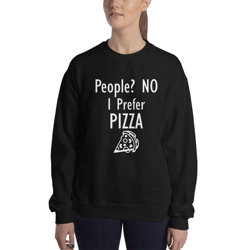 Food Sweatshirt I Prefer Pizza Sweatshirt Black Cotton Foodies Sweatshirt for women