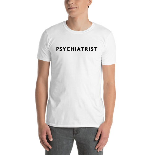 Psychiatrist T shirt One word Medical Specialist T shirt Short-sleeve White Cotton T shirt for men