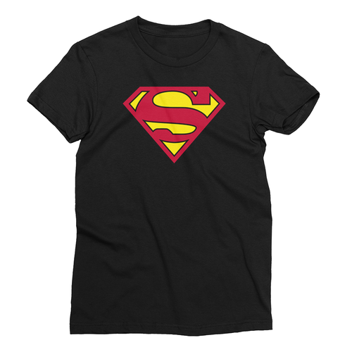 Superman T Shirt Black Superhero T Shirt Short-Sleeve Cotton T-Shirt for Women