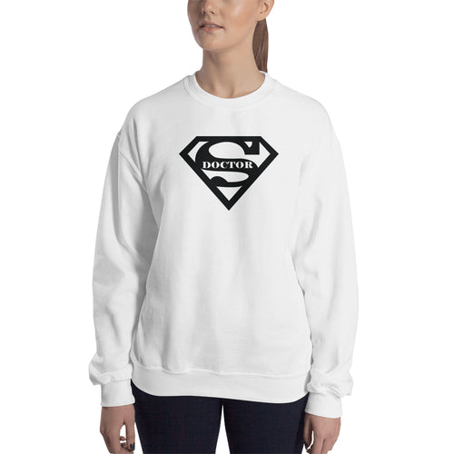 Super Doctor Sweatshirt Superman logo Sweatshirt White Lady Doctors sweatshirt for women