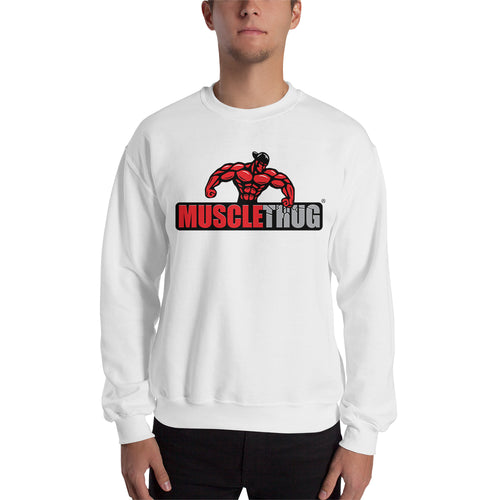 Muscle Thug Sweatshirt Gym Sweatshirt White Full-sleeve Sweatshirt for men