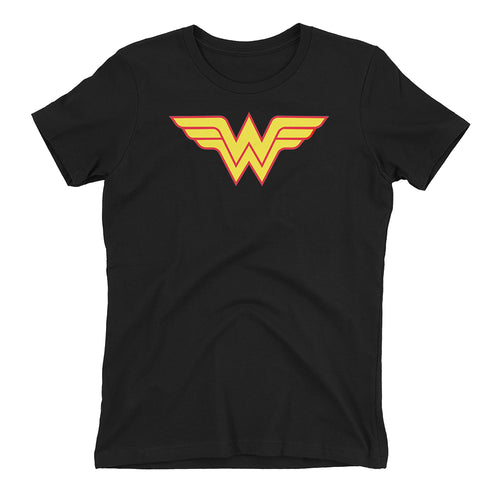 Wonder women T shirt DC T shirt Black short-sleeve Cotton T shirt for women