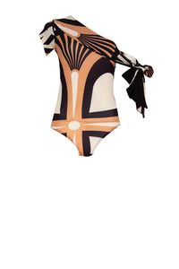 KHAN Ivory Toffee Black Print