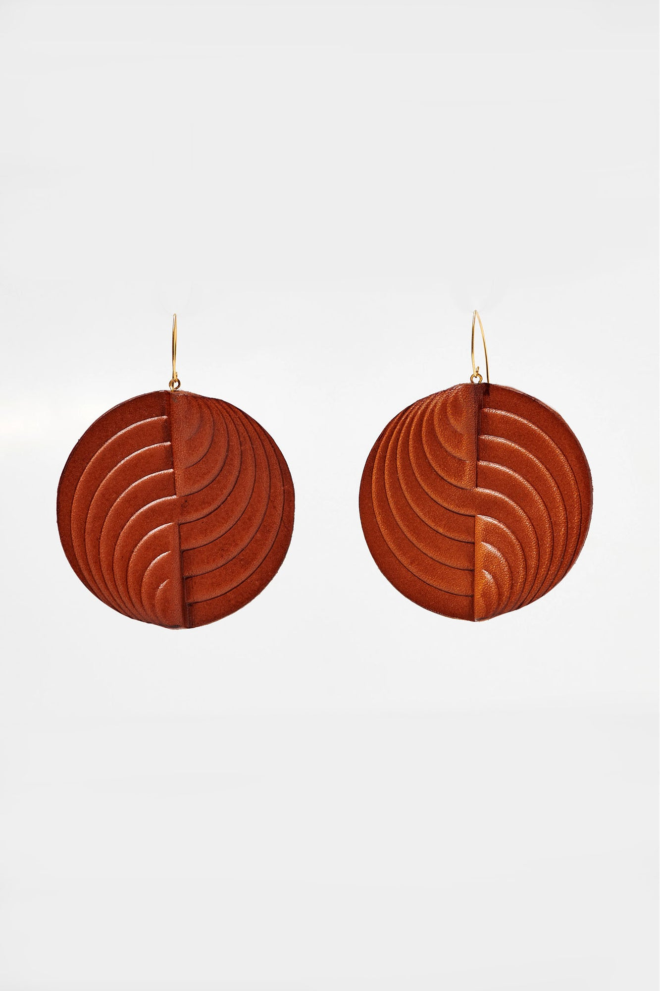 Circle Earrings Tan