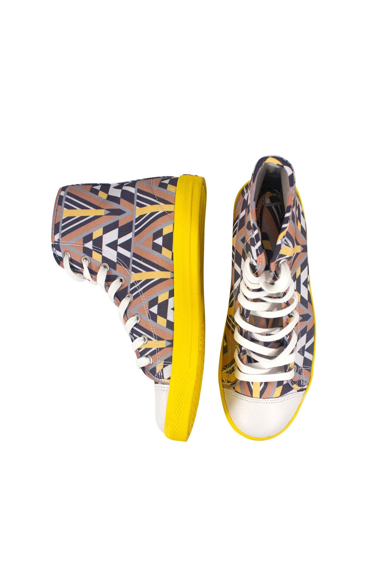 KEYES Hightop Sneakers Yellow Supatri Print