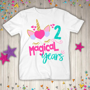 Two Unicorn Birthday Shirt