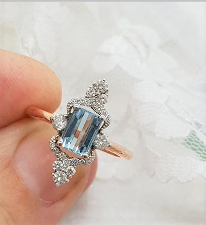Rose and white gold topaz dress ring